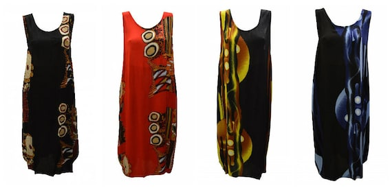 Womens Plus size Dress Abstract Print Funky Bubble Pocket Maxi Free size up to 24 P1-P5