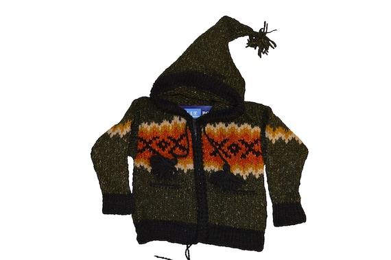 Kids baby boho hippie pixie hooded nomad aztec ethnic 100% wool zip fleece coat jacket p11