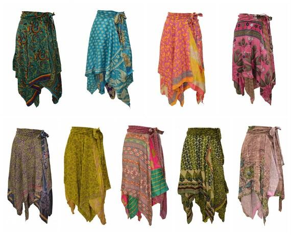 Upcycled Wrap- around Skirt Reversible Vintage Patchwork handkerchief Hem Boho Midi Free Size up to size 18 P316- P324