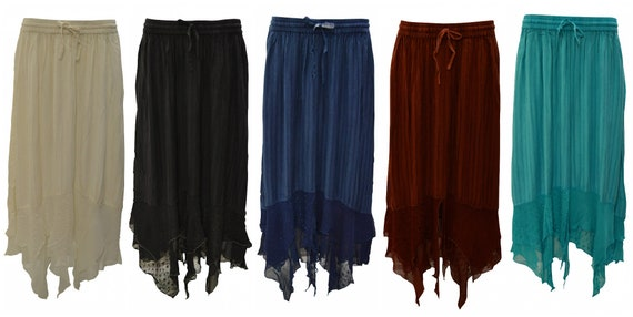 Womens Ladies Boho Stripe Embroidered Gypsy Sheer Layered Hem Maxi Skirt Free Size Up To 22