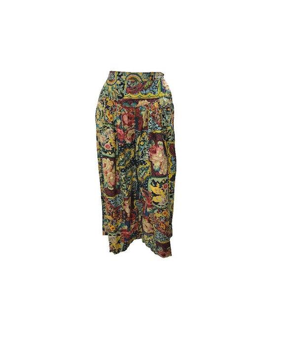 Upcycled Vintage Floral Pants Wide Leg Boho Side Button Crop trousers Green multi Free Size up to size 14