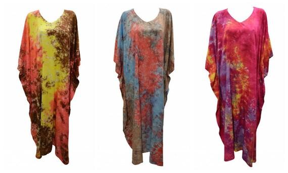 Womens Plus Size Kaftan Handmade Marble effect Maxi Boho Batwing Loungewear Free Size Up To 28
