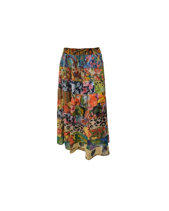 Upcycled Rockabilly Skirt Full Floral Mix tier Patchwork Skirt Multi Free Size up to 18