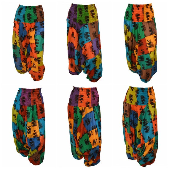 Upcycled Cotton Harem Pants Patchwork Elephant boho loungewear Low crotch 2in1 Romper Free Size 8 To 18 P7-P12
