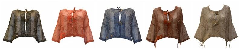 Crochet Style Crop Cardigan Boho Button Knit Mesh Shrug Free image 0