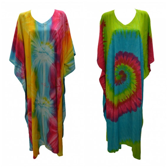 Womens Plus Size Kaftan Boho Hippie Abstract Tie-Dye Batwing Sleeves Loungewear Free Size Up To 38