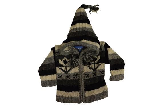 Kids baby boho hippie pixie hooded nomad aztec ethnic 100% wool zip fleece coat jacket p31