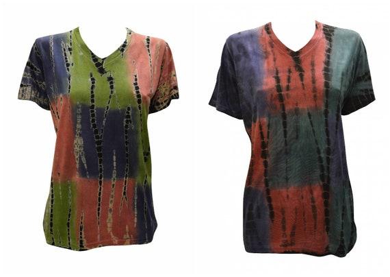 Tie-dye T-shirt Unisex Casual Block Patch V- neck Short Sleeve Festival Hippie Top Size M L XL