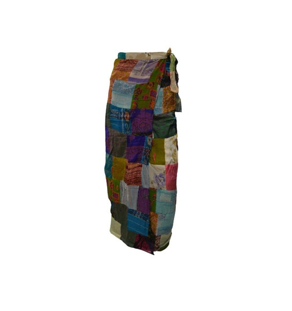 Boho hippie vintage style up-cycled reversible abstract patchwork maxi wrap skirt free size up to size 18 p263