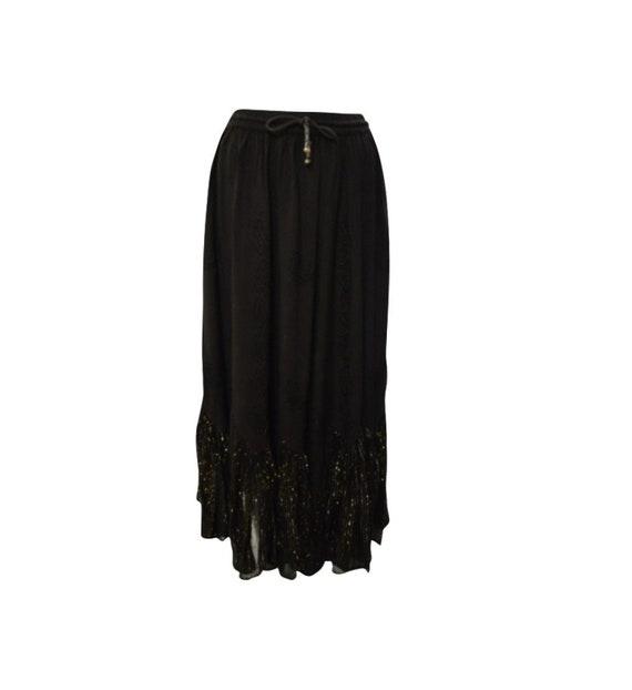 Womens Ladies Boho Tone To Tone Embroidered Scalloped Hem Maxi Skirt Freesize Up To 16