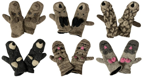 100% Wool Gloves Winter Knit boho Animal Mittens Fleece Lining Warm Cosy P7- P12