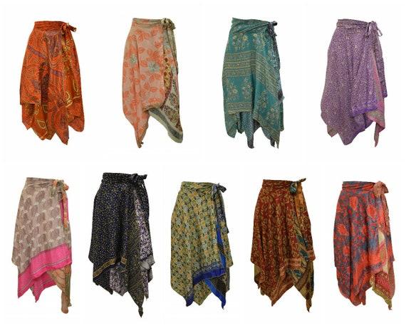 Upcycled Wrap- around Skirt Reversible Vintage Patchwork handkerchief Hem Boho Midi Free Size up to size 18 P278- P286
