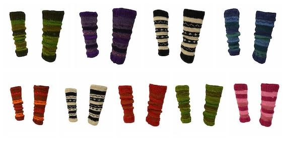 Winter 100% Wool Leg Warmers Hand Knit Warm Chic Stripy Comfy Fleece Lined P10 - P18