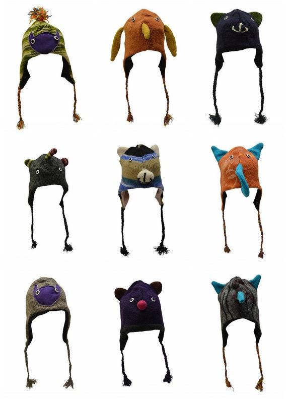 Handmade 100% Wool Knit Unisex Adults Kids Winter Character Hats Warm Fleece Lining One Size P10-P18