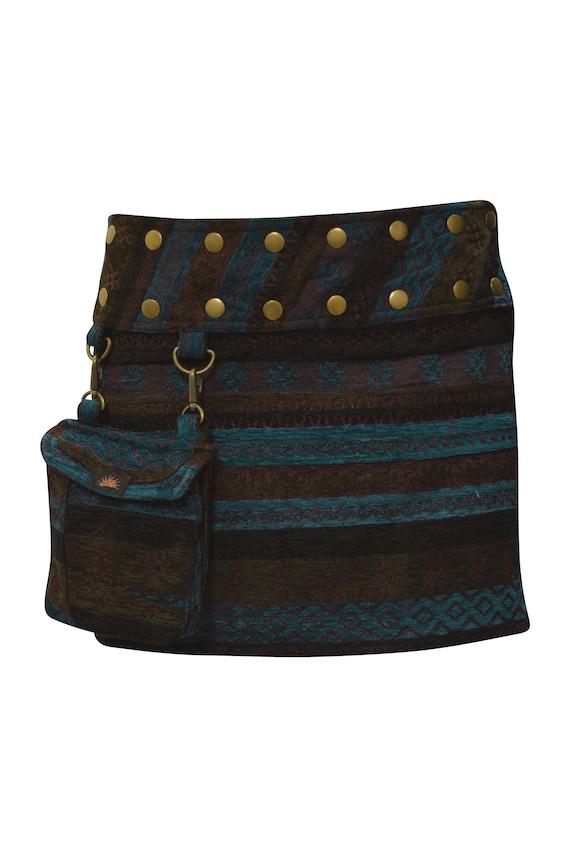 Womens Ladies Retro Print Stripe Reversible Wrap- around Skirt Gothic Detachable Pouch Bag Mini Multi