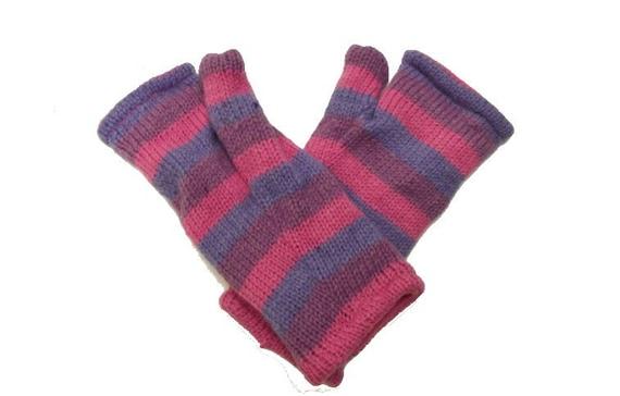 Handmade Knit 100% Wool Winter Striped Fingerless Gloves Warm Fleece Lining Hand Warmers One Size P4