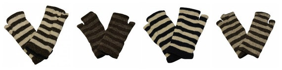 Handmade Knit 100% Wool Winter Striped Fingerless Hand Warmers Fleece Lining Gloves One Size P1 - P4