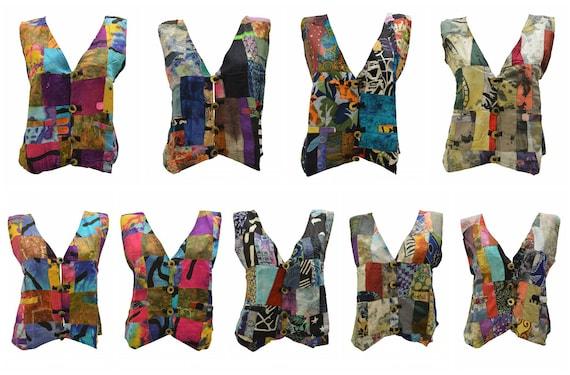 Handmade Upcycled Waistcoats Funky Boho Retro Patchwork Vest Size 14 P79- P87