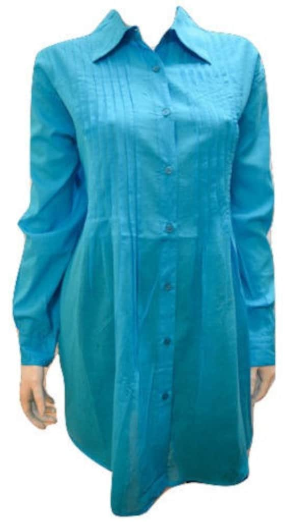Plus size button down long sleeved collared adjustable sleeve shirt Turquoise 14 16 18