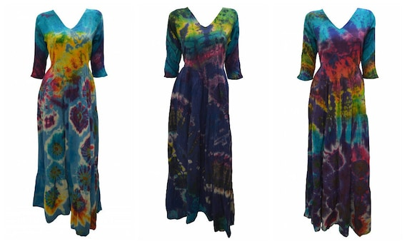 Handmade Cotton Maxi Unique Tie-dye Boho Full gypsy Tiered Skirt Dress Free size Up to 14