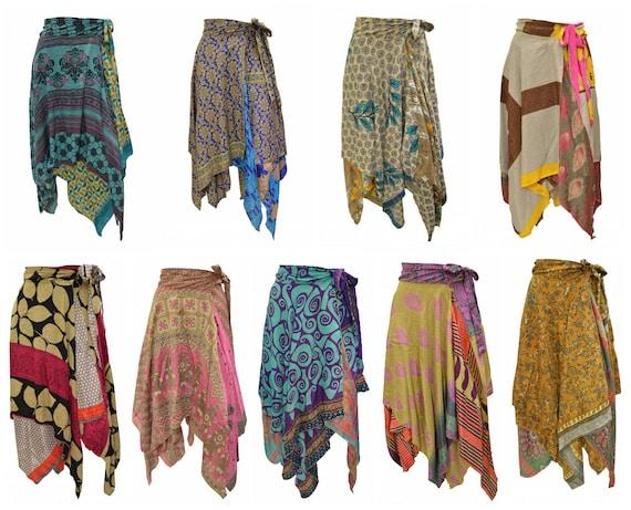 Upcycled Wrap- around Skirt Reversible Vintage Patchwork handkerchief Hem Boho Midi Free Size up to size 18 P325- P333
