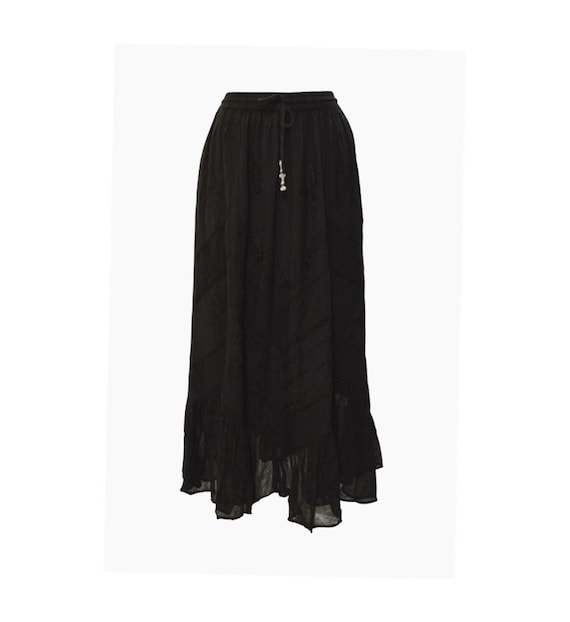 Womens Ladies Boho Gypsy Floral Tone To Tone Embroidered Patchwork Frilled Hem Handkerchief Maxi Skirt Freesize Up To 16