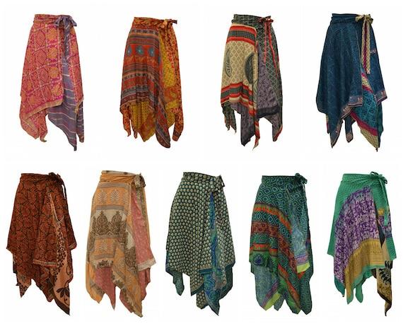 Upcycled Wrap- around Skirt Reversible Vintage Patchwork handkerchief Hem Boho Midi Free Size up to size 18 P297- P306