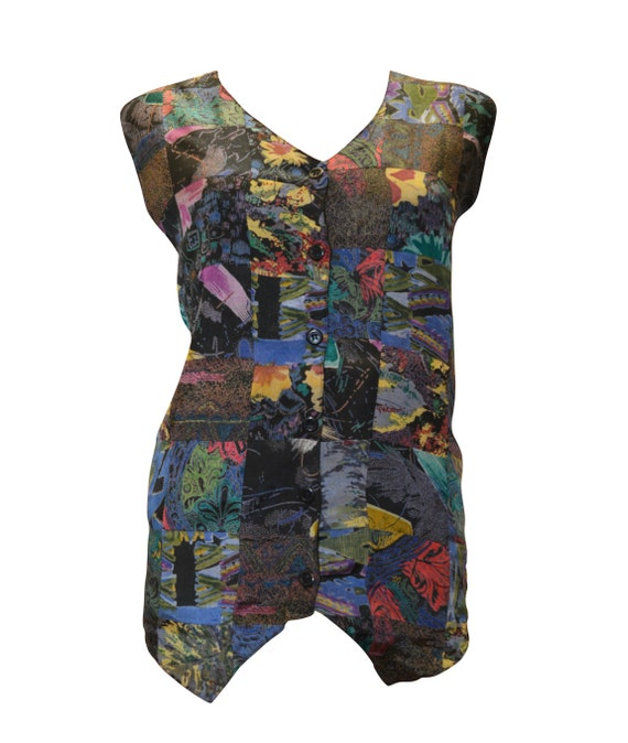 boho hippie retro vintage style patchwork abstract waistcoat up to size 18
