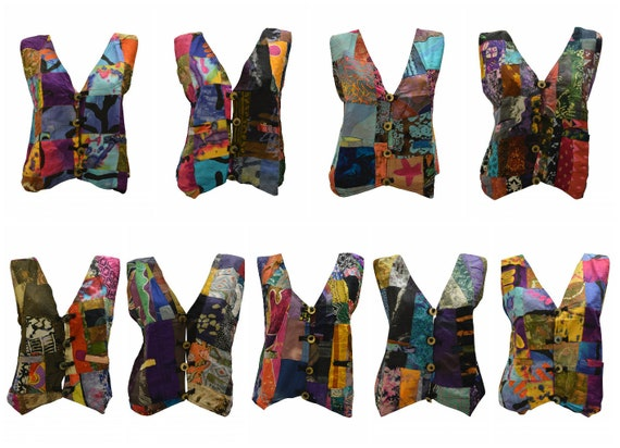 Handmade Upcycled Waistcoats Funky Boho Retro Patchwork Vest Size 12 P10- P18