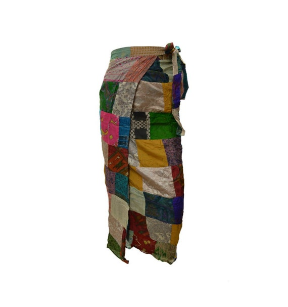 Boho hippie vintage style up-cycled reversible abstract patchwork maxi wrap skirt free size up to size 18 p274