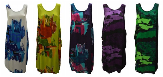 Womens Plus size Dress Abstract Print Funky Bubble Pocket Maxi Free size up to 24 P11-P15
