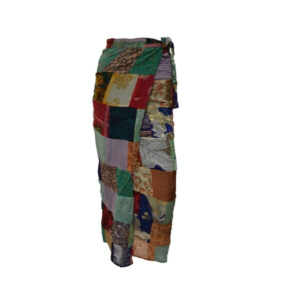 Boho hippie vintage style up-cycled reversible abstract patchwork maxi wrap skirt free size up to size 18 p277