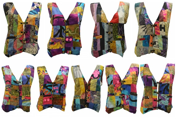 Handmade Upcycled Waistcoats Funky Boho Retro Patchwork Vest Size 14 P43- P51