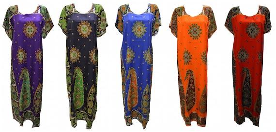 Womens Plus Size Kaftan Floral bordered Paisley Maxi Boho Loungewear Free Size Up To 24