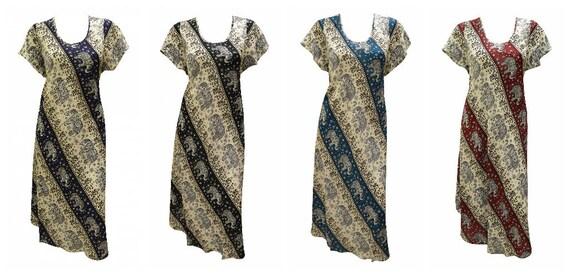 Womens Swing Dress Elephant Print Stripe High- Low Umbrella Pocket Short Sleeves Shift Free Size Up to 18