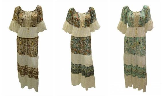 Boho Paisley Print Maxi Half Sleeve Ruffled Tiered Dress Free Size Up to 16
