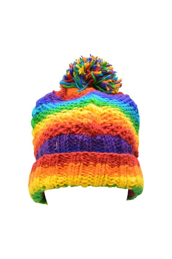 Handmade knit 100% Wool Crochet Beanie Pompom Hat Warm Winter Fleece lined Skull Cap Rainbow