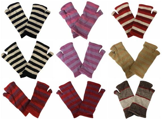 Handmade Knit Handwarmers 100% Wool Winter Striped Fingerless Fleece Lined Gloves One Size P40- P48