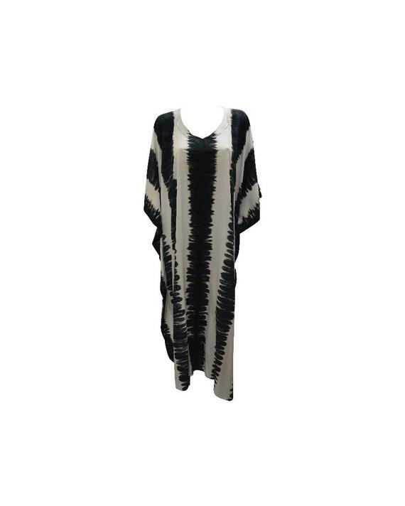 Womens Plus Size Kaftan Handmade Boho Stripe Tie-dye Maxi Batwing Loungewear Free Size Up To 28 White