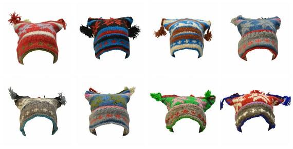 Handmade Knit 100% wool Boho Beanie Multi Tassel Warm Fleece Lined  Hippie Winter Hat P10-P17