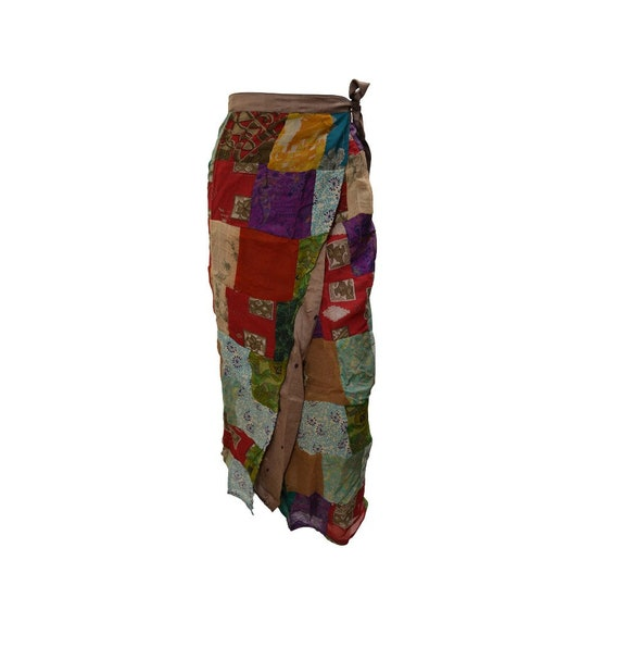Boho hippie vintage style up-cycled reversible abstract patchwork maxi wrap skirt free size up to size 18 p266