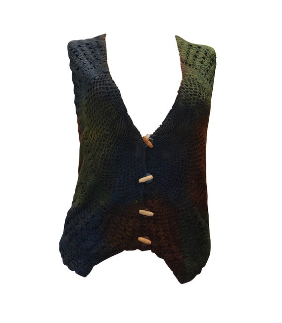 RECYCLED waistcoat boho hippie retro vintage style crochet wooden button up up to size 16