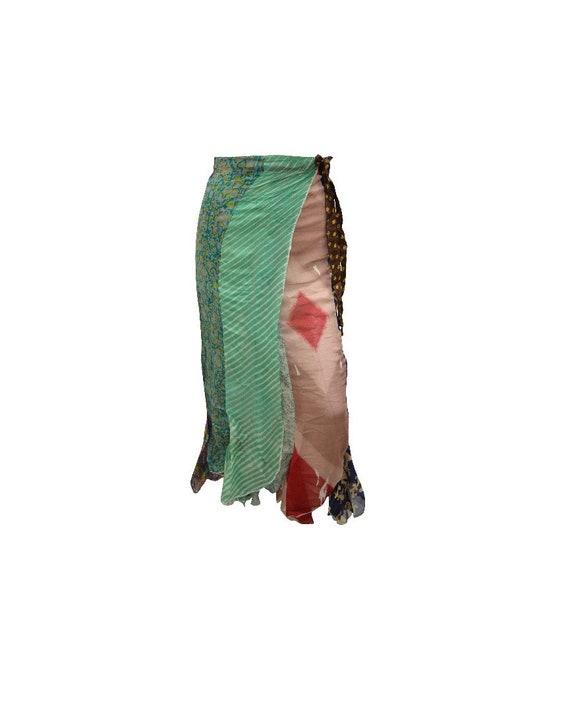 Boho Upcycled Skirt Vintage Style Hippie Patchwork Frilled Hem Wrap around Maxi  Free size up to size 18 P200