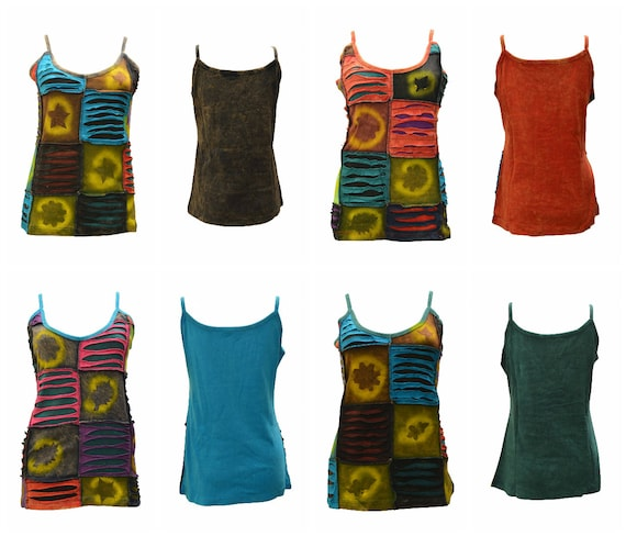 100% Cotton Recycled Tank Top Boho Strappy Upcycled Patchwork Hippie Vest Size M, L, XL