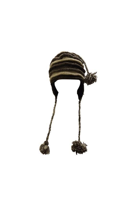 Handmade knit 100% wool unisex adults  thick layered tassel warm fleece lined boho hippie winter hat p1
