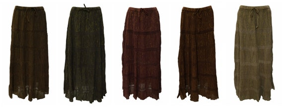 Womens Ladies Boho Embroidered Gypsy Handkerchief Skirt Freesize Up to 24