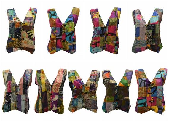 Handmade Upcycled Waistcoats Funky Boho Retro Patchwork Vest Size 12 P1-P9