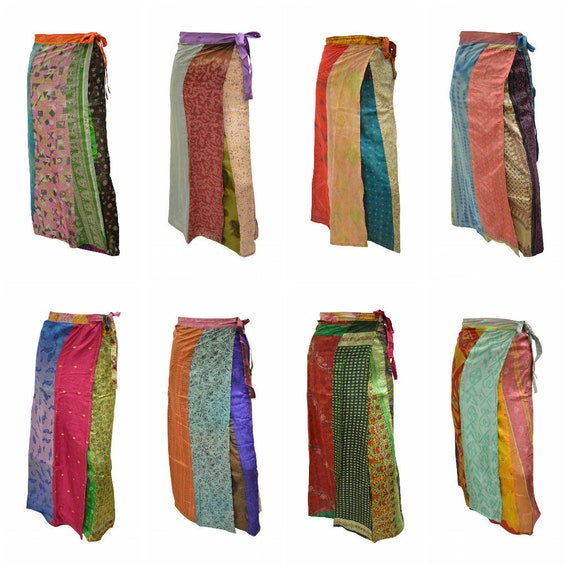 Boho Upcycled Wrap Around Skirt Funky Patchwork Hippie Maxi Sarong Free Size up to 18 P233- P240