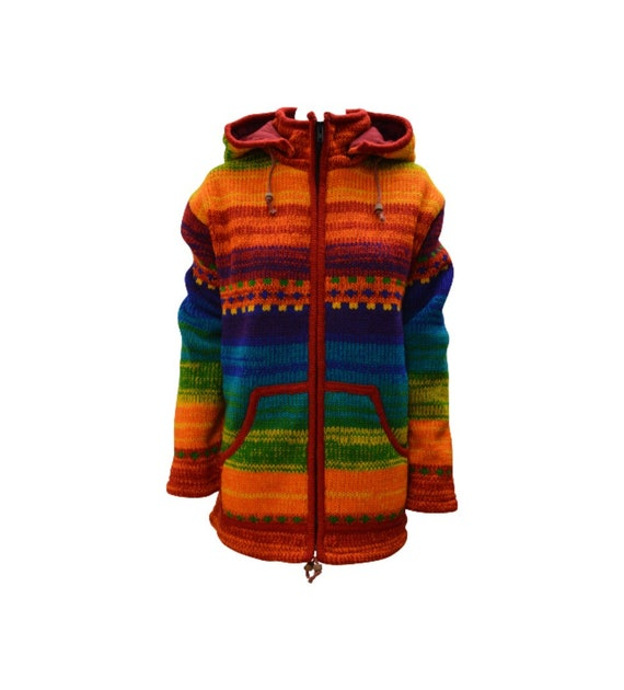 Handmade 100% Wool Chunky Knit Unisex Cardigan Jacket Boho Fleece Lining warm Hoodie Rainbow