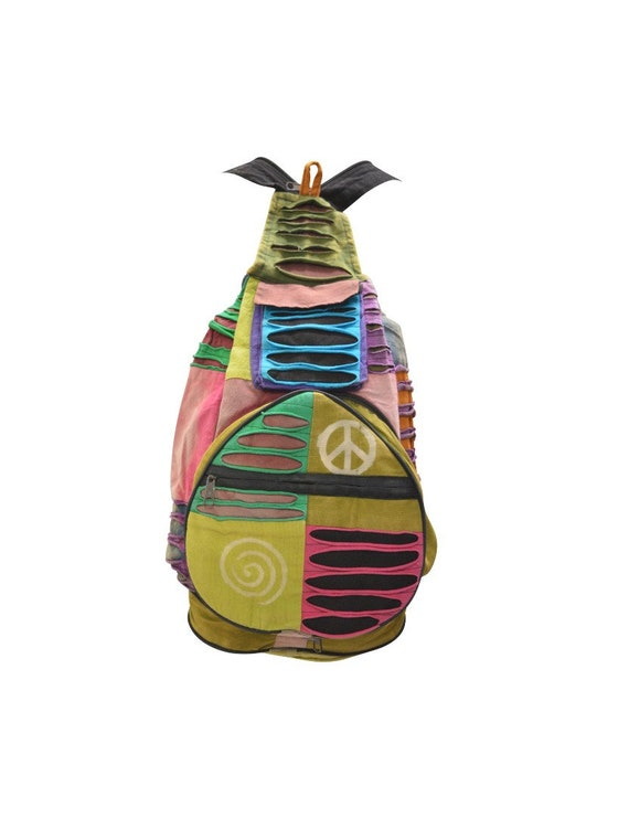 100% Cotton Recycled Hippie Patchwork Rucksack 2in1 Boho Pouch Peace Print Front Zip Pocket Shoulder bag P4